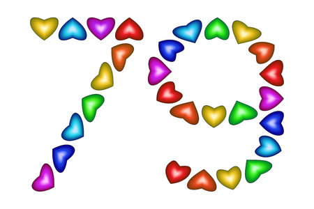 school age: Number 79 of colorful hearts on white. Symbol for happy birthday, event, invitation, greeting card, award, ceremony. Holiday anniversary sign. Multicolored icon. Seventy nine in rainbow colors. Vector