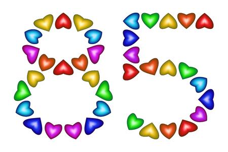 Número 85 de corazones de colores en blanco. Símbolo de feliz cumpleaños, eventos, invitaciones, tarjetas de felicitación, premio, ceremonia. Signo de vacaciones aniversario. icono multicolor. Ochenta y cinco, en colores del arco iris. Vector