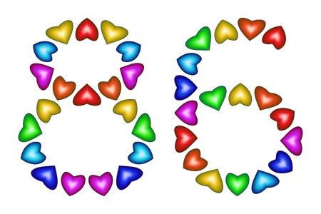 six year old: Number 86 of colorful hearts on white. Symbol for happy birthday, event, invitation, greeting card, award, ceremony. Holiday anniversary sign. Multicolored icon. Eighty six in rainbow colors. Vector