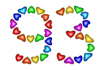 school age: Number 93 of colorful hearts on white. Symbol for happy birthday, event, invitation, greeting card, award, ceremony. Holiday anniversary sign. Multicolored icon. Ninety three in rainbow colors. Vector