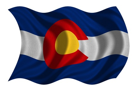 colorado flag: Flag of the US state of Colorado. American patriotic element. USA banner. United States of America symbol. Colorado official flag with real detailed fabric texture wavy isolated on white, illustration