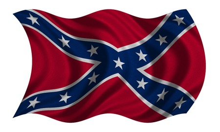 Historical national flag of the Confederate States of America. Known as Confederate Battle, Rebel, Southern Cross, Dixie flag. Patriotic symbol, banner. Flag of the CSA, fabric texture waving on white Stock Photo