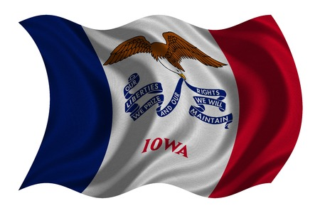 us sizes: Flag of the US state of Iowa. American patriotic element. USA banner. United States of America symbol. Iowan official flag with real detailed fabric texture wavy isolated on white, illustration