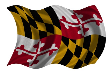 maryland flag: Flag of the US state of Maryland. American patriotic element. USA banner. United States of America symbol. Maryland official flag with real detailed fabric texture wavy isolated on white, illustration