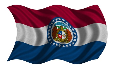 Flag of the US state of Missouri. American patriotic element. USA banner. United States of America symbol. Missourian official flag, real detailed fabric texture wavy isolated on white, illustration