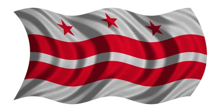 district of columbia: Flag of the District of Columbia. American patriotic element. USA banner. United States of America symbol. Washington, D.C. official flag, detailed fabric texture wavy isolated on white, illustration