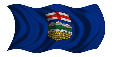 province: Albertan provincial official flag, symbol. Canada banner and background. Canadian AB patriotic element. Flag of the Canadian province of Alberta wavy isolated on white, fabric texture, 3D illustration Stock Photo