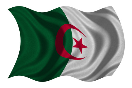 Algerian national official flag. African patriotic symbol, banner, element, background. Correct colors. Flag of Algeria with real detailed fabric texture wavy isolated on white, 3D illustration Stock Photo