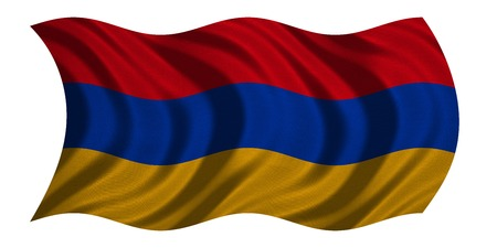 armenian: Armenian national official flag. Patriotic symbol, banner, element, background. Correct colors. Flag of Armenia with real detailed fabric texture wavy isolated on white, 3D illustration