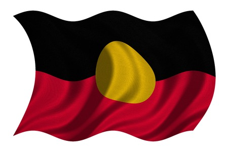 Australian Aboriginal official flag. Commonwealth of Australia patriotic symbol, banner, element, background. Australian Aboriginal flag detailed fabric texture wavy isolated on white, 3D illustration
