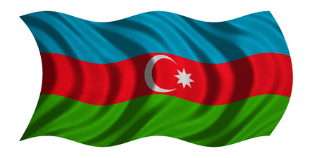 Azerbaijani national official flag. Patriotic symbol, banner, element, background. Correct colors. Flag of Azerbaijan with real detailed fabric texture wavy isolated on white, 3D illustration