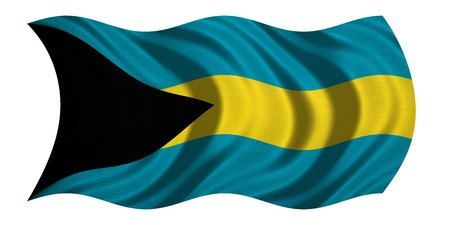 bahamian: Bahamian national official flag. Patriotic symbol, banner, element, background. Correct colors. Flag of Bahamas with real detailed fabric texture wavy isolated on white, 3D illustration