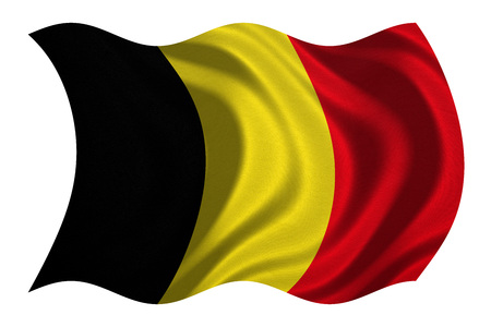 Belgian national official flag. Patriotic symbol, banner, element, background. Correct colors. Flag of Belgium with real detailed fabric texture wavy isolated on white, 3D illustration