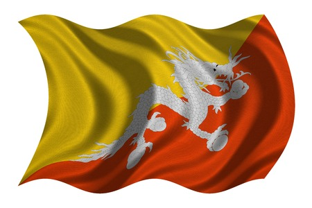 Bhutanese national official flag. Patriotic symbol, banner, element, background. Correct colors. Flag of Bhutan with real detailed fabric texture wavy isolated on white, 3D illustration