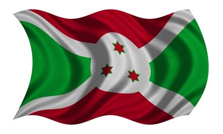Burundian national official flag. African patriotic symbol, banner, element, background. Correct colors. Flag of Burundi with real detailed fabric texture wavy isolated on white, 3D illustration