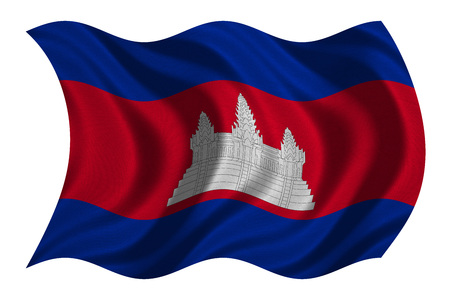 cambodian: Cambodian national official flag. Patriotic symbol, banner, element, background. Correct colors. Flag of Cambodia with real detailed fabric texture wavy isolated on white, 3D illustration
