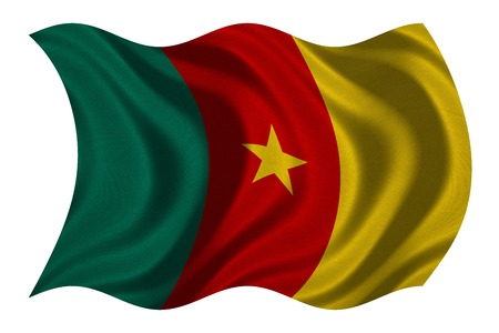 cameroonian: Cameroonian national official flag. African patriotic symbol, banner, element, background. Correct colors. Flag of Cameroon with real detailed fabric texture wavy isolated on white, 3D illustration