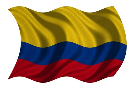 Colombian national official flag. Patriotic symbol, banner, element, background. Correct colors. Flag of Colombia with real detailed fabric texture wavy isolated on white, 3D illustration