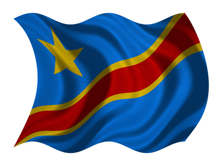 DR Congo national official flag. African patriotic symbol, banner, element, background. Correct color. Flag of Democratic Republic of the Congo wavy isolated on white, fabric texture, 3D illustration