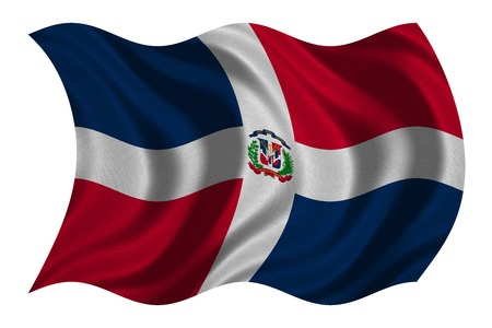 Dominican Republic national official flag. Patriotic symbol, banner, element, background. Correct colors. Flag of Dominican Republic with detailed fabric texture wavy isolated on white 3D illustration