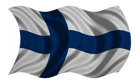 finnish: Finnish national official flag. Patriotic symbol, banner, element, background. Correct colors. Flag of Finland with real detailed fabric texture wavy isolated on white, 3D illustration Stock Photo