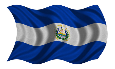 el salvadoran: Salvadoran national official flag. Patriotic symbol, banner, element, background. Correct colors. Flag of El Salvador with real detailed fabric texture wavy isolated on white, 3D illustration