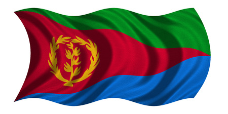 Eritrean national official flag. African patriotic symbol, banner, element, background. Correct colors. Flag of Eritrea with real detailed fabric texture wavy isolated on white, 3D illustration