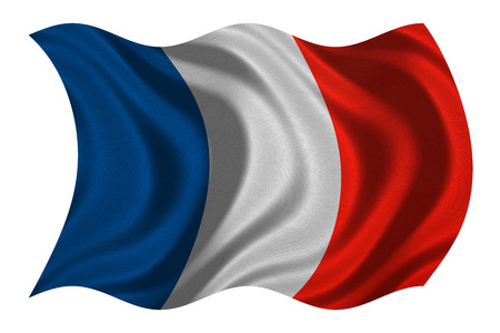 French national official flag. Patriotic symbol, banner, element, background. Correct colors. Flag of France with real detailed fabric texture wavy isolated on white, 3D illustration