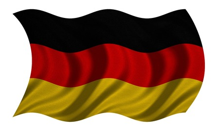 German national official flag. Patriotic symbol, banner, element, background. Correct colors. Flag of Germany with real detailed fabric texture wavy isolated on white, 3D illustration