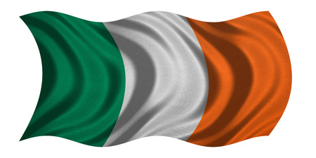 irish banner: Irish national official flag. Patriotic symbol, banner, element, background. Correct colors. Flag of Ireland with real detailed fabric texture wavy isolated on white 3D illustration