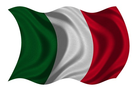 Italian national official flag. Patriotic symbol, banner, element, background. Correct colors. Flag of Italy with real detailed fabric texture wavy isolated on white 3D illustration