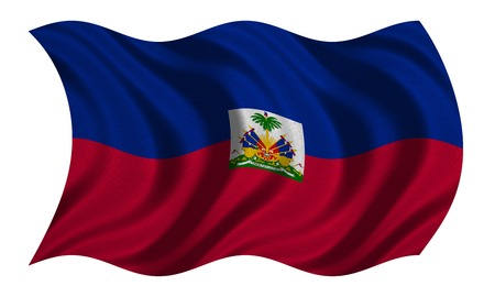 haitian: Haitian national official flag. Patriotic symbol, banner, element, background. Correct colors. Flag of Haiti with real detailed fabric texture wavy isolated on white, 3D illustration