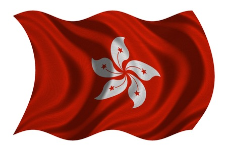prc: Hong Kongese official flag. Patriotic chinese symbol, banner, element, background. Hong Kong is special region of PRC. Correct colors. Flag of Hong Kong wavy on white, fabric texture, 3D illustration