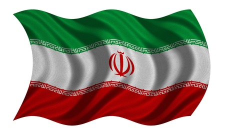 Iranian national official flag. Islamic Republic of Iran patriotic symbol, banner, element, background. Correct colors. Flag of Iran with detailed fabric texture wavy isolated on white 3D illustration Stock Photo