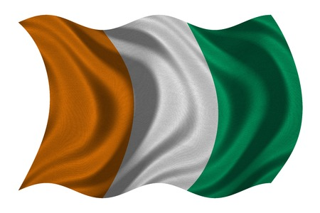 Cote D Ivoire national official flag. African patriotic symbol, banner, element, background. Correct color. Flag of Ivory Coast with real detailed fabric texture wavy isolated on white 3D illustration Stock Photo