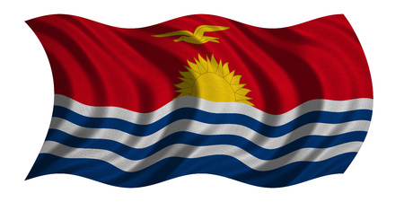 carribean: Kiribati national official flag. Patriotic symbol, banner, element, background. Correct colors. Flag of Kiribati with real detailed fabric texture wavy isolated on white 3D illustration