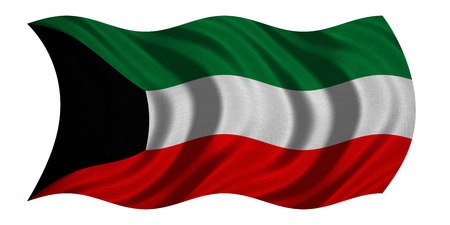 Kuwait national official flag. Patriotic symbol, banner, element, background. Correct colors. Flag of Kuwait with real detailed fabric texture wavy isolated on white 3D illustration