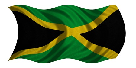 jamaican: Jamaican national official flag. Patriotic symbol, banner, element, background. Correct colors. Flag of Jamaica with real detailed fabric texture wavy isolated on white 3D illustration