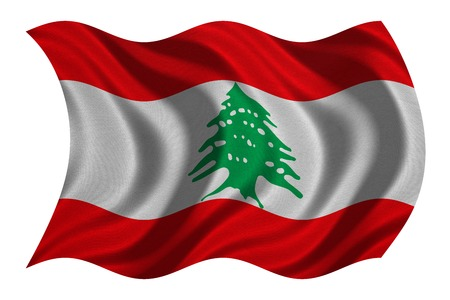 lebanese: Lebanese national official flag. Patriotic symbol, banner, element, background. Correct colors. Flag of Lebanon with real detailed fabric texture wavy isolated on white 3D illustration Stock Photo