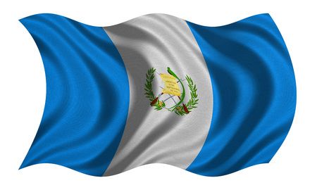 Guatemalan national official flag. Patriotic symbol, banner, element, background. Correct colors. Flag of Guatemala with real detailed fabric texture wavy isolated on white, 3D illustration