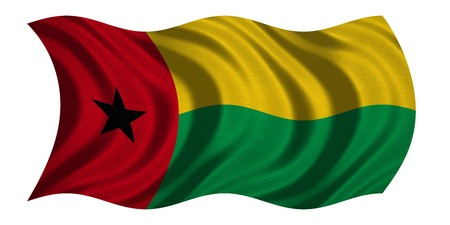 Bissau-Guinean national official flag. Patriotic symbol, banner, element, background. Correct colors. Flag of Guinea-Bissau with real detailed fabric texture wavy isolated on white, 3D illustration Stock Photo