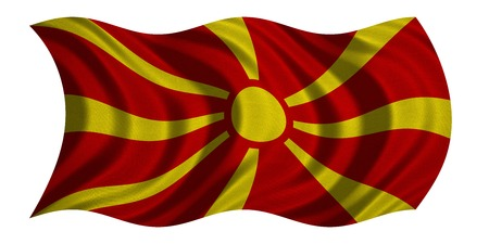macedonian flag: Macedonian national official flag. Patriotic symbol, banner, element, background. Correct colors. Flag of Macedonia with real detailed fabric texture wavy isolated on white, 3D illustration