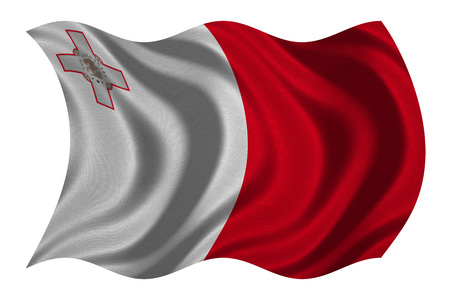 Maltese national official flag. Patriotic symbol, banner, element, background. Correct colors. Flag of Malta with real detailed fabric texture wavy isolated on white, 3D illustration