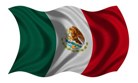 Mexican national official flag. Patriotic symbol, banner, element, background. Correct colors. Flag of Mexico with real detailed fabric texture wavy isolated on white, 3D illustration Stock Photo