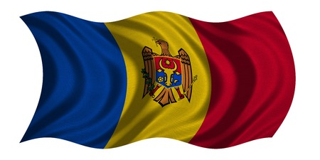moldovan: Moldovan national official flag. Patriotic symbol, banner, element, background. Correct colors. Flag of Moldova with real detailed fabric texture wavy isolated on white, 3D illustration