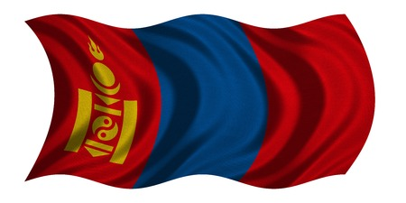 Mongolian national official flag. Patriotic symbol, banner, element, background. Correct colors. Flag of Mongolia with real detailed fabric texture wavy isolated on white, 3D illustration
