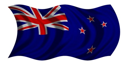 New Zealand national official flag. Patriotic symbol, banner, element, background. Correct colors. Flag of New Zealand with real detailed fabric texture wavy isolated on white, 3D illustration