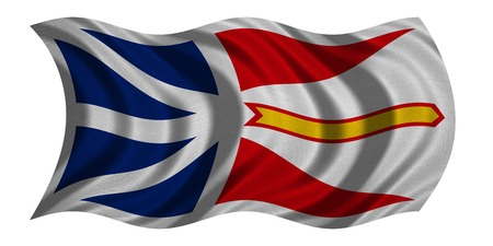 province: Canadian provincial NL patriotic element and official symbol. Canada banner and background. Flag of the Canadian province of Newfoundland and Labrador wavy isolated, fabric texture, 3D illustration Stock Photo