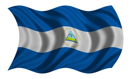 Nicaraguan national official flag. Patriotic symbol, banner, element, background. Correct colors. Flag of Nicaragua with real detailed fabric texture wavy isolated on white, 3D illustration