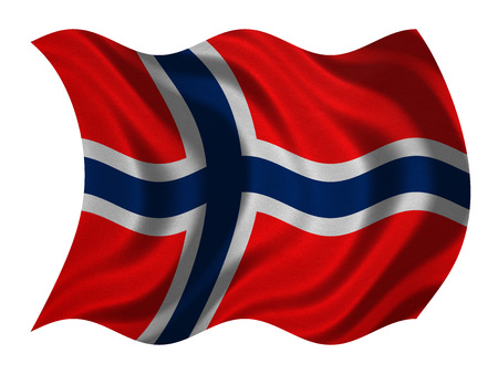 Norwegian national official flag. Patriotic symbol, banner, element, background. Correct colors. Flag of Norway with real detailed fabric texture wavy isolated on white, 3D illustration Stock Photo